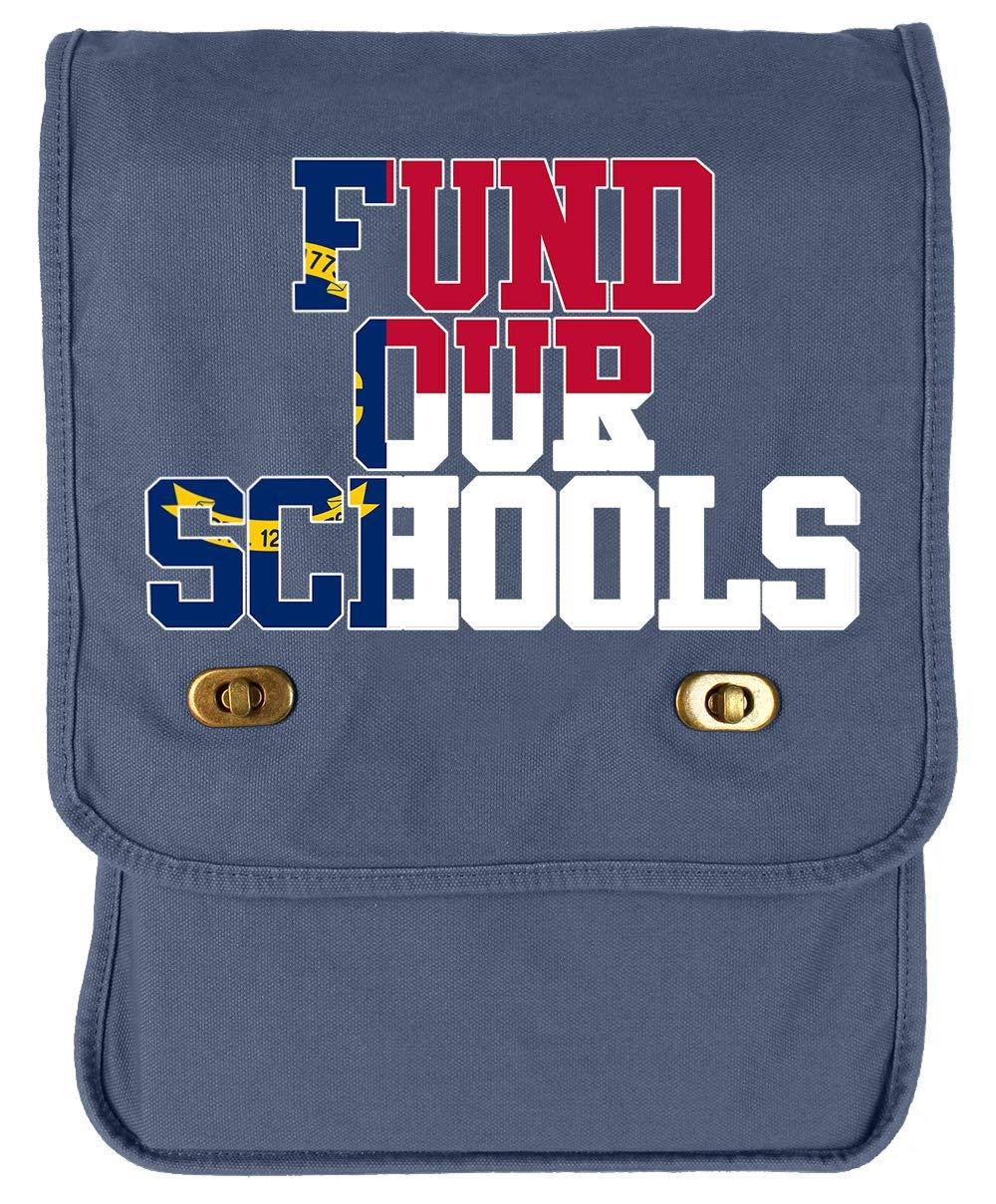 Tenacitee Fund our North Carolina Schools Khaki Green Raw Edge Canvas Messenger Bag