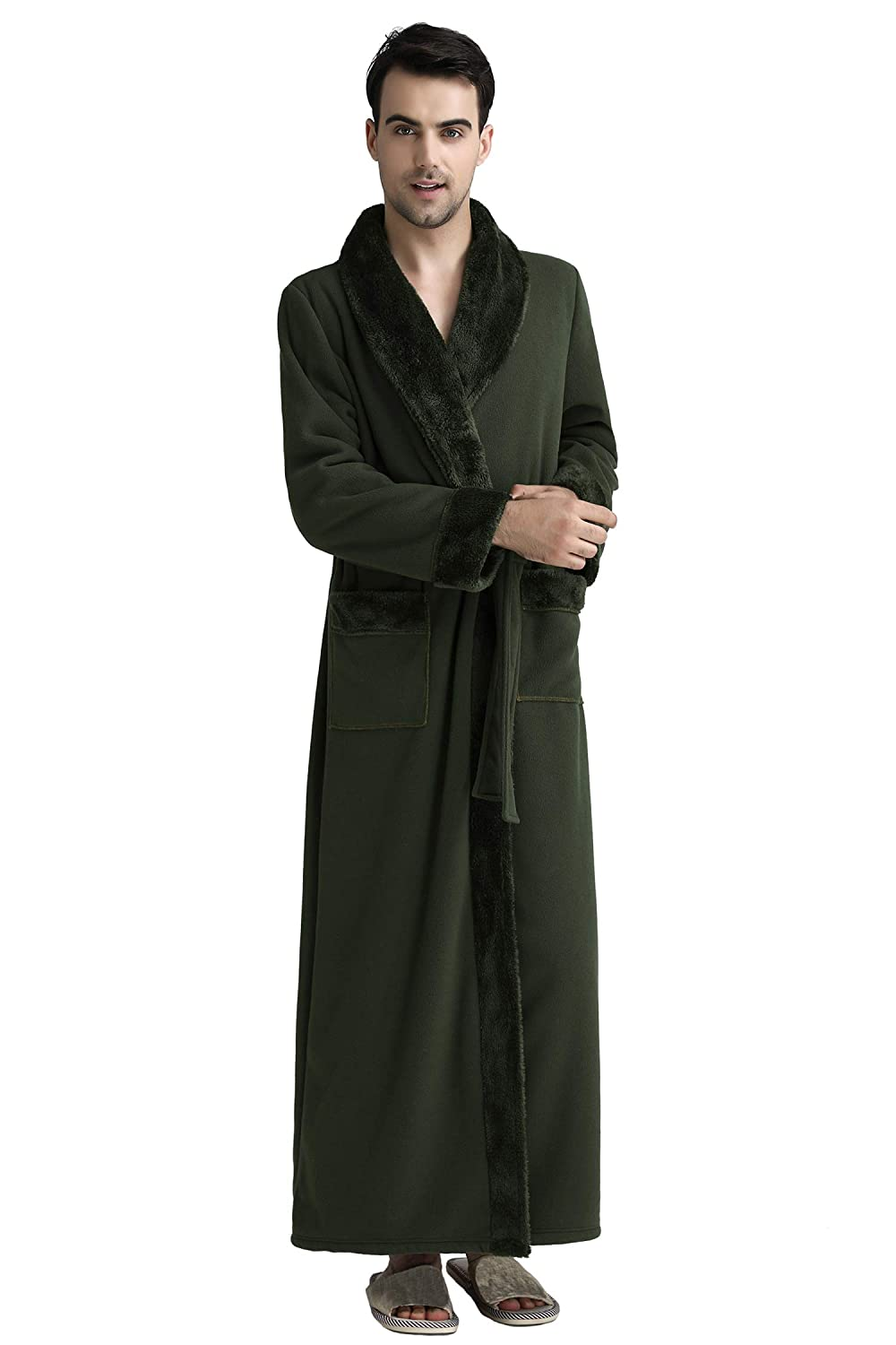 Cahayi Thick Unisex Bathrobe for Women Men Winter Ultra Warm Long Robe Plus Size CABR1709