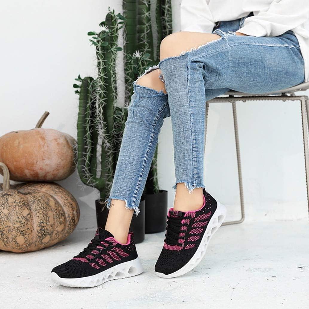 LangfengEU Chaussure de Sport Outdoor en Casual Tendance en Printemps Été pour Femme Chaussure a Lacets Endurance en Textile Respirant Noir Rose