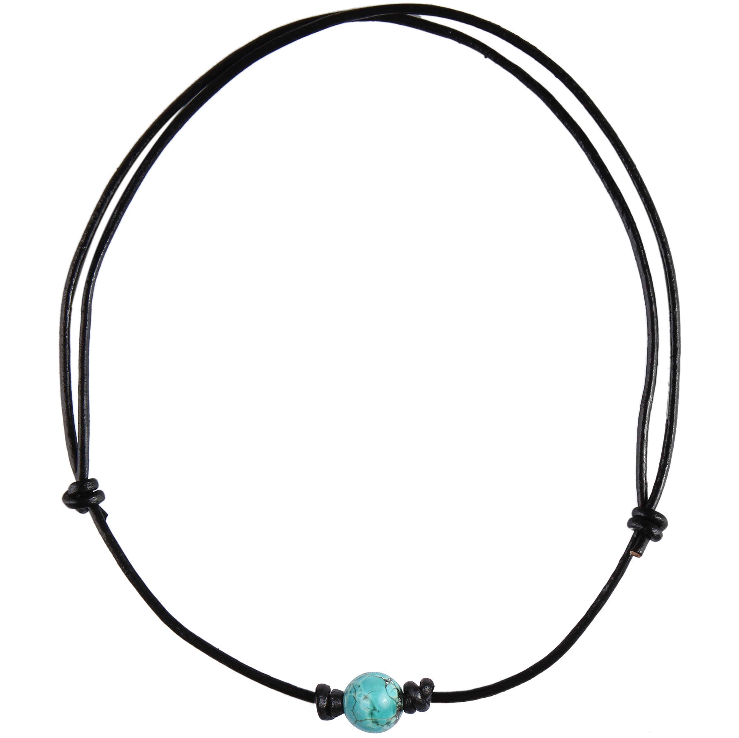 Barch Single Turquoise Choker Necklace on Black Leather Cord (Round Adjustable 1#)