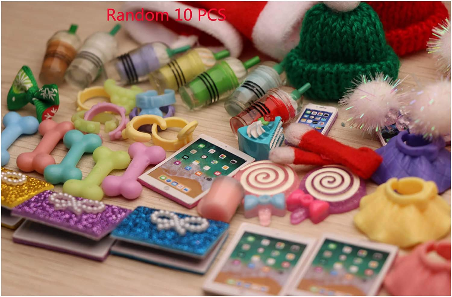 JWRAC LPS Accessories Lot (Random 10 PCS) Bows Skirts Hats Drinks Collars Bones Food Laptop Outfit for LPS Cat and Dog Collie Great Dane