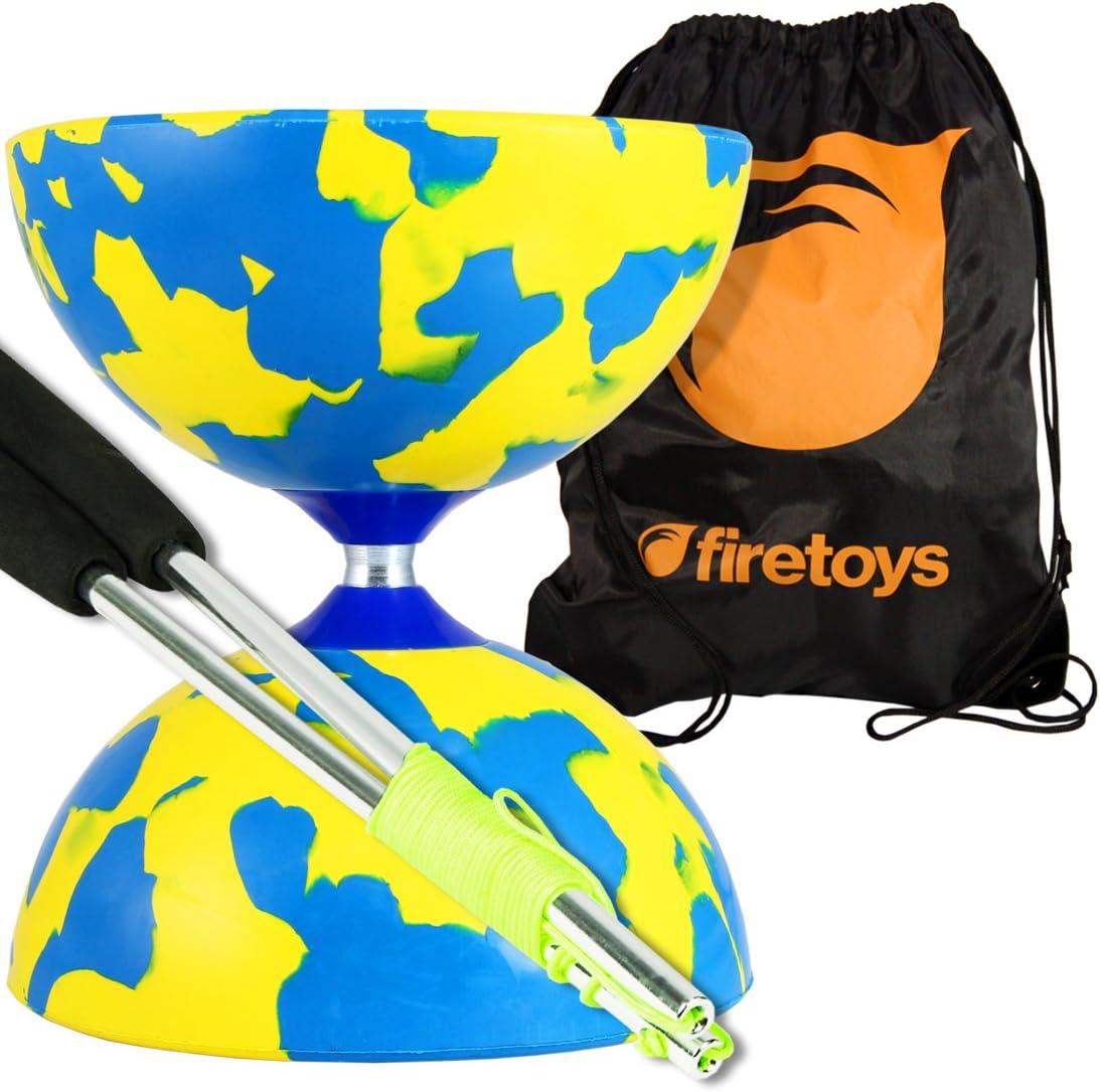 Malabares sueño bufón Diabolo Set (azul/amarillo), Palos de aluminio (incl. Cadena) y Firetoys bolsa de viaje