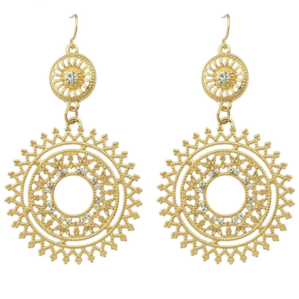 Feelontop® Vintage Earrings Gold Color with Hollow Out Flower Big Earrings with Jewelry Pouch Er-3580