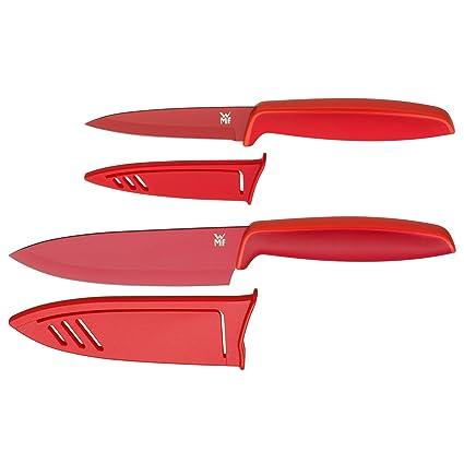 WMF Touch Juego 2 Cuchillos con Funda, Acero, Rojo, Hojas de 13 y 9cm
