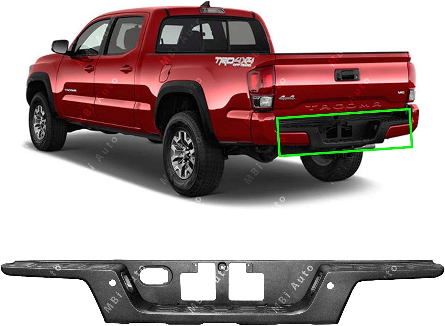 Textured TO1191109 MBI AUTO Rear Bumper Step Pad for 2016-2019 Toyota Tacoma w//Park Assist 16-19
