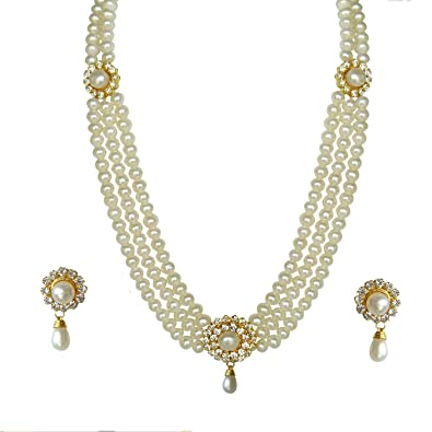 4cf022c0ac67d Classique Designer Silver Alloy With Gold Plated Chain Pearl Necklace &  Earring Set With Watch For Women(Cp137)