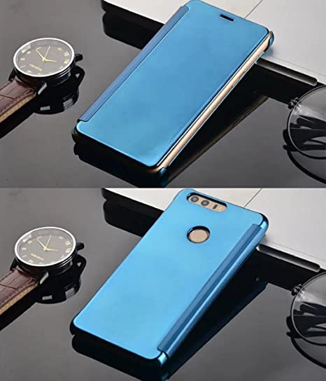 Huawei P10 Case, Translucent View Flip Mirror Cover, Shiny Plating