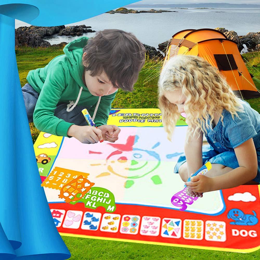 Angusiasm Doodle Tappeto Magico Giocattolo Gioco Educativo Regalo per Bambini 80 x 60cm Disegno Magico Mat Colorati Acqua Disegno di Doodle Scribble Boards