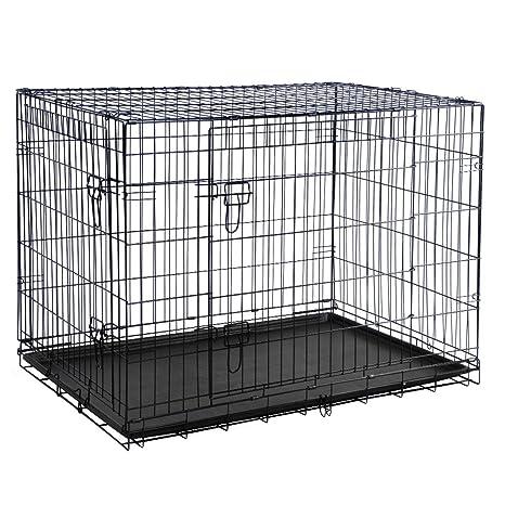 Alambre de perro Jaula perrera para Cachorro Gato Caja con puerta ...