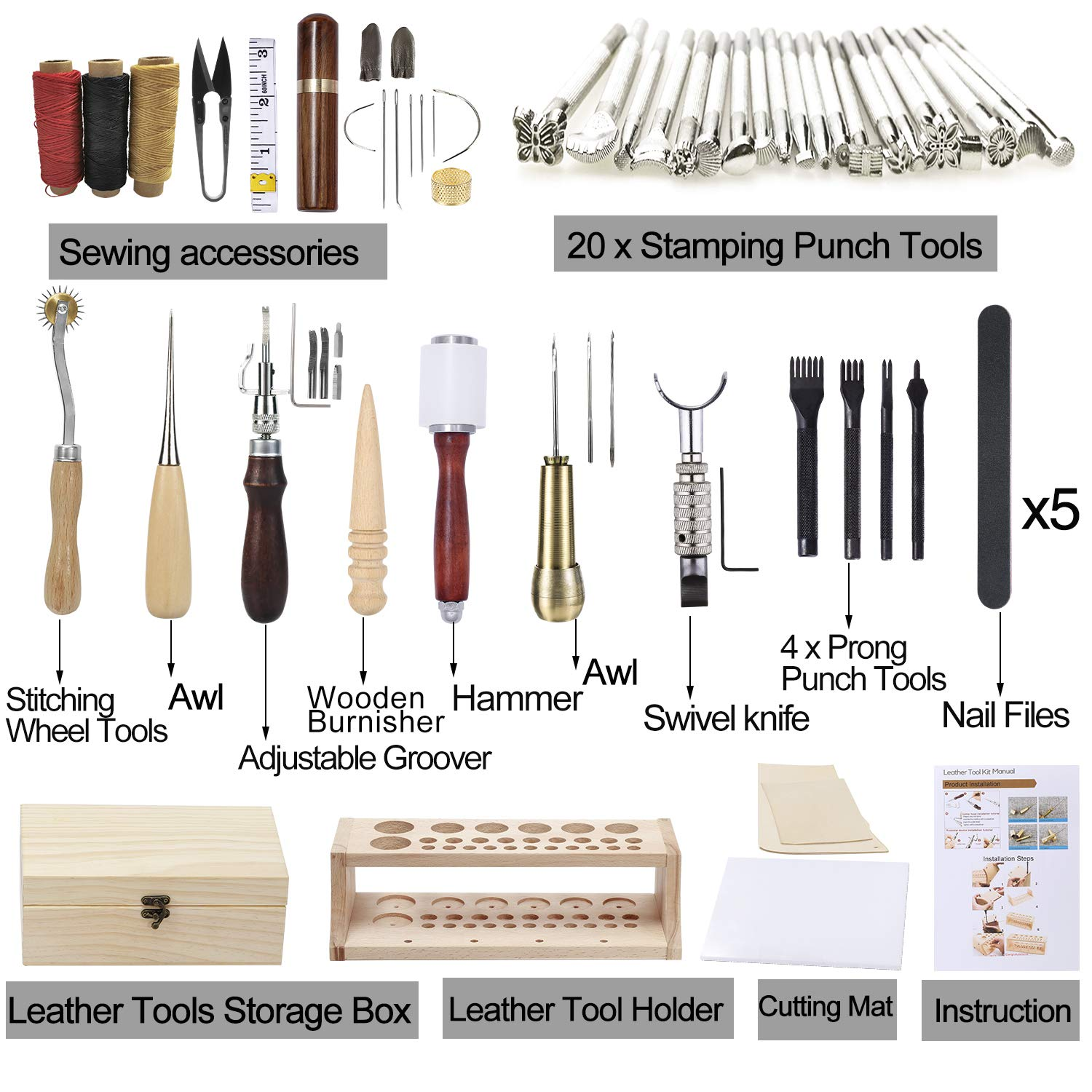 UOOU Leathercraft Hand Tools Kit with Instructions,Leathercraft Working Tools,Stamping Set,Prong Punch,Hand Sewing Stitching for DIY Leather Working and Saddle Making