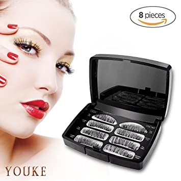 aa5b9c405d7 Amazon.com : Magnetic Eyelashes Dual Magnet Glue-free 3D Reusable Full Size  Premium Quality Soft Natural Look Best False eyeLashes 2 Pairs/(8 Pieces) :  ...