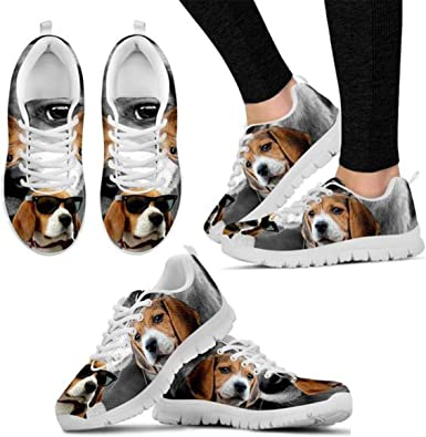 Shoetup Cute American Staffordshire Terrier Dog Print Womens Casual Running Shoes White