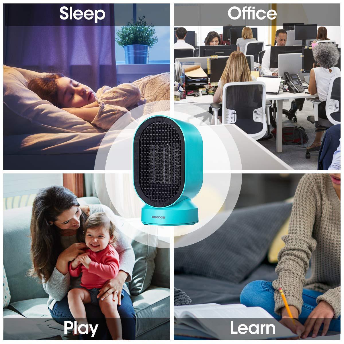 Vent Puissant Pour Poussette,Camping,Bureau,Voiture SGODDE Ventilateur de Table et Chauffage /Électrique 2 Modes 21 cm Ultra Silencieux 45dB 4W Turbo Fan fonction oscillation 50/°