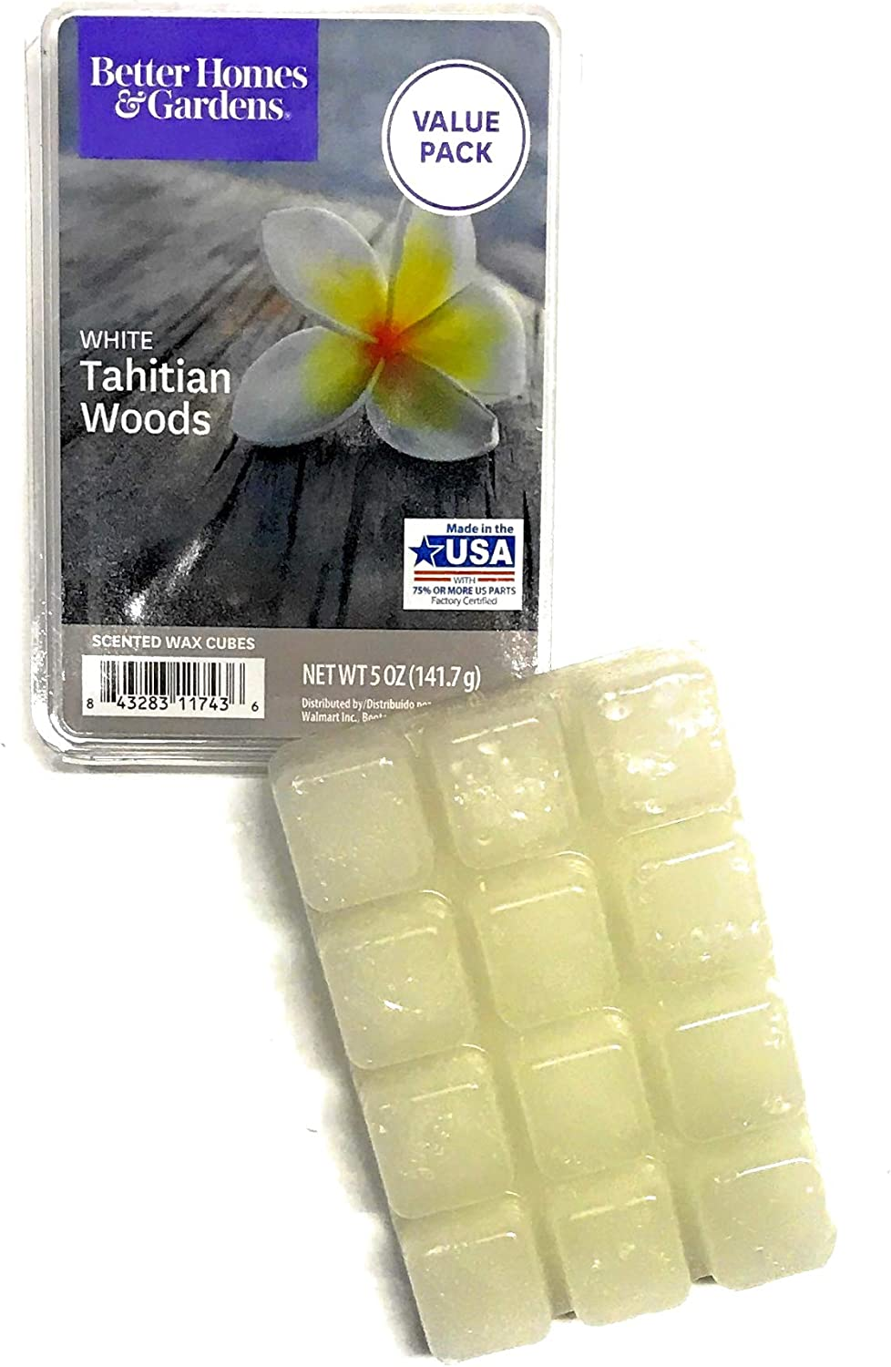 Better Homes and Gardens Scented Wax Cubes White Tahitian Woods, 5 OZ Package