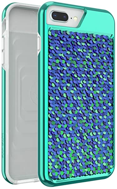 best loved 77906 99849 Body Glove Shimmer Reversible Sequins Phone Case for iPhone 6 Plus, 6s  Plus, 7 Plus, 8 Plus - Iridescent Teal/Purple and Black