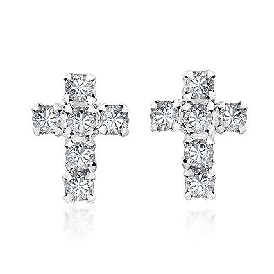 46858ae62 Amazon.com: Cute Petite Cross White Cubic Zirconia .925 Sterling Silver Stud  Earrings: Jewelry