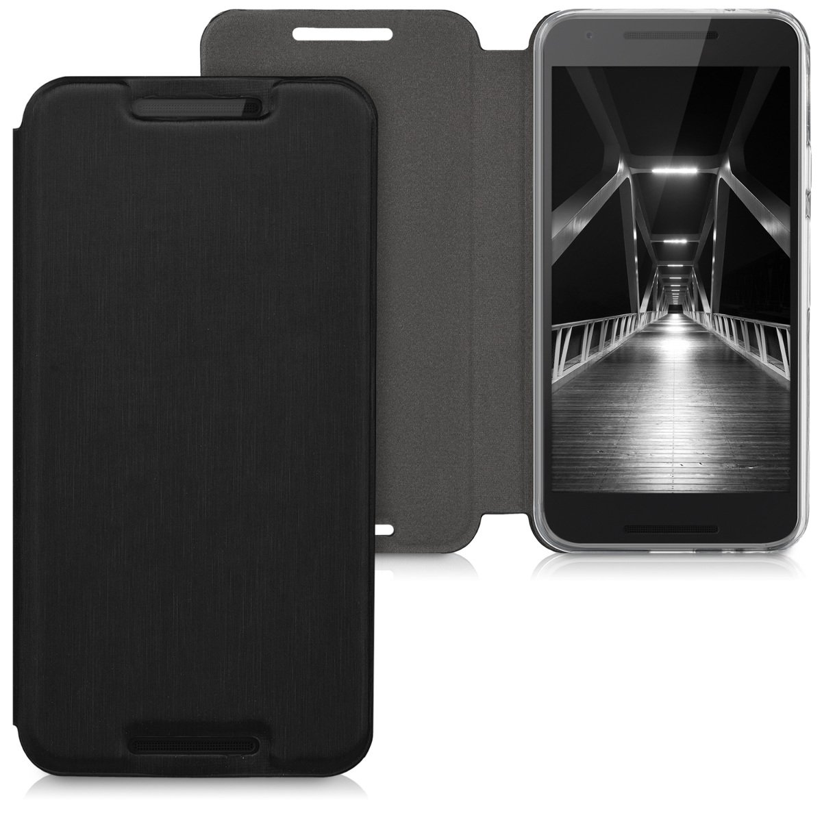 kwmobile Funda para LG Google Nexus 5X - Carcasa Plegable para móvil - Case con Tapa y Soporte en Negro