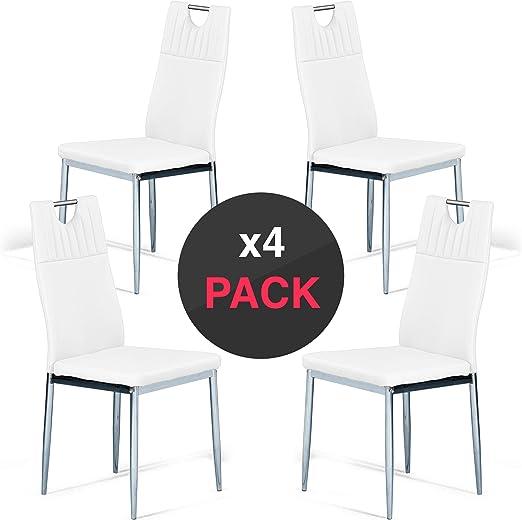 dicoro Pack 4 sillas de Comedor y Cocina Nina 4 Patas cromadas ...