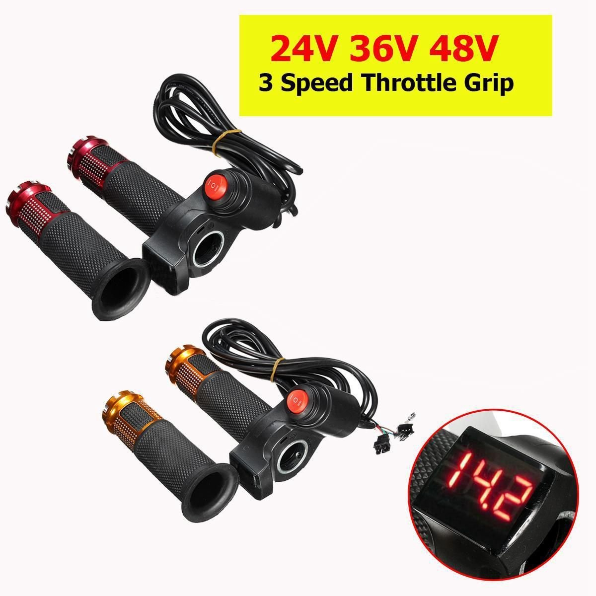 Rollschuhe, Skateboards Und Roller 24 V 36 V 48 V 3 Geschwindigkeit Elektrische Roller Gas Grip Lenker Led Digital Meter