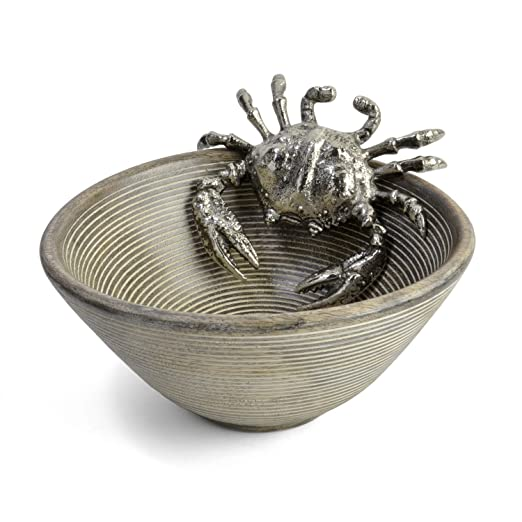 Christmas Tablescape Décor - Mud Pie silver metal crab icon mango wood bowl