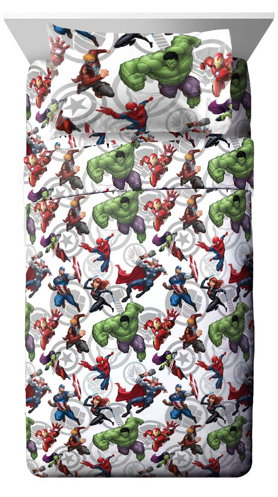 Jay Franco Marvel Avengers Marvel Team Full Sheet Set - Super Soft and Cozy Kid's Bedding - Fade Resistant Polyester Microfiber Sheets (Official Marvel Product) by Jay Franco