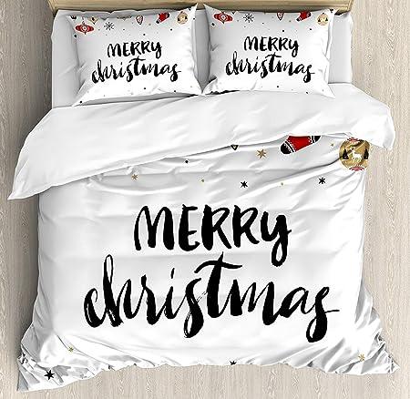 Copripiumino Scritte.Set Copripiumino Natalizio Buon Natale Con Scritte A Pennello