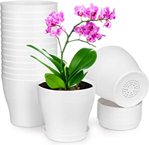 HOMENOTE Plant Pots, Set of 15 Plastic Planters with Multiple Drainage Holes and Tray 6 inch Indoor Plant Pot for All Home Garden Flowers Succulents, Cream White