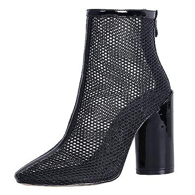 Hollow Out Sommer Stiefel Sandalen mit 8cm Absatz Blockabsatz High Heels Elegant Women Shoes