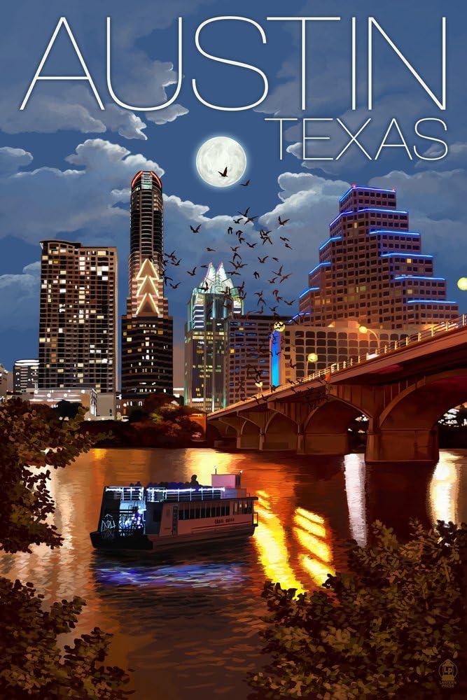 Austin Texas Skyline At Night 24x36 Giclee Gallery Print Wall Decor Travel Poster Wall Art Amazon Com