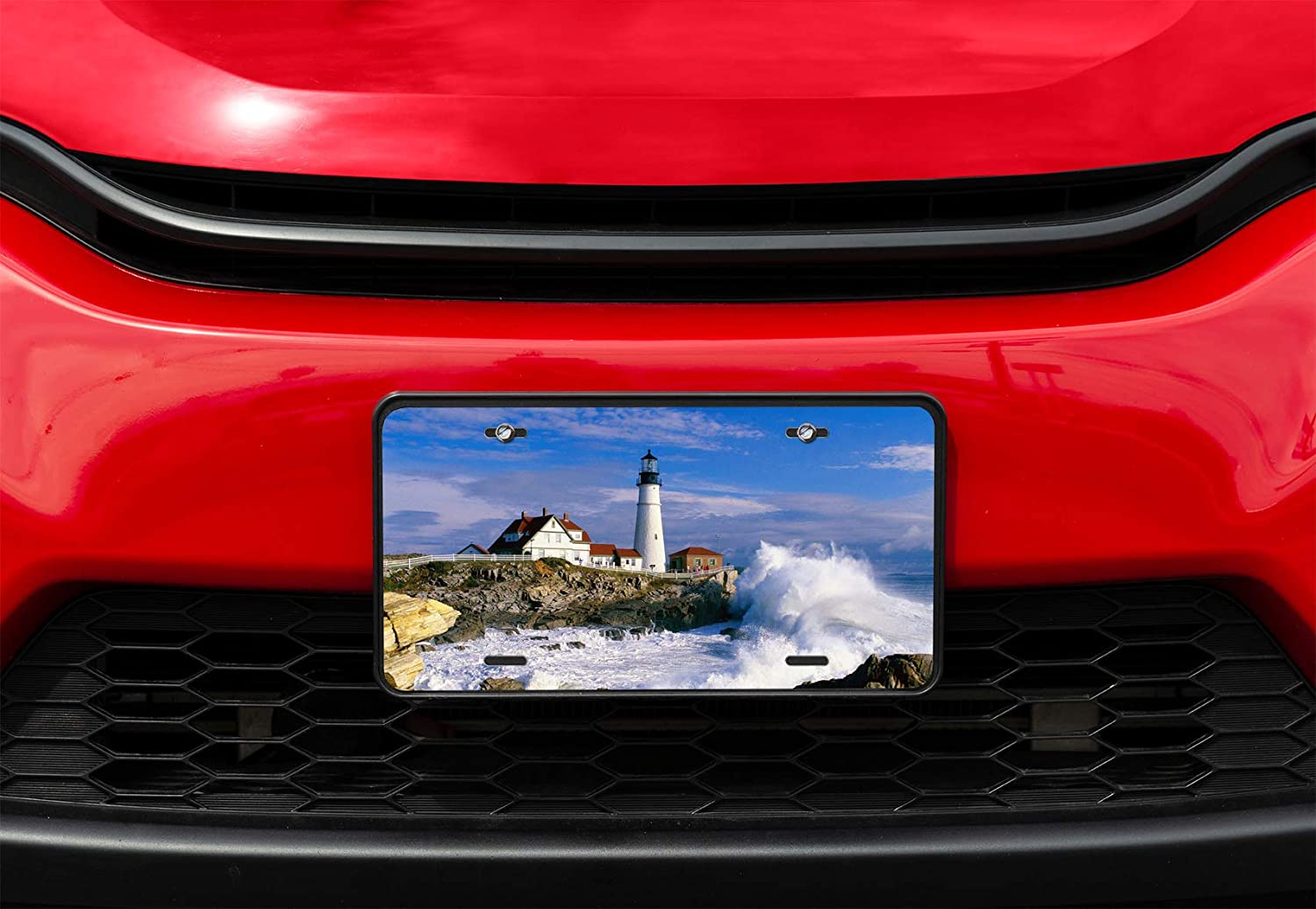 4 Holes Amcove License Plate Portland Head Lighthouse Decorative Car Front License Plate,Vanity Tag,Metal Car Plate,Aluminum Novelty License Plate,6 X 12 Inch