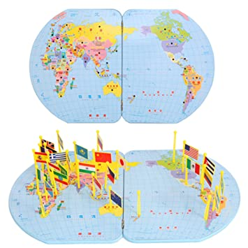 Amazon children wooden educational puzzle world map insert children wooden educational puzzle world map insert national flag toys gumiabroncs Images