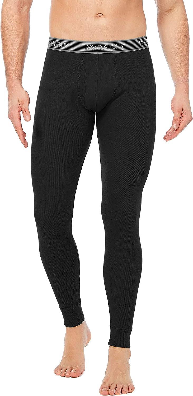 DAVID ARCHY Mens Soft Cotton Thermal Underwear Rib Stretchy Base Layer Thermal Top and Bottom Long Johns Set