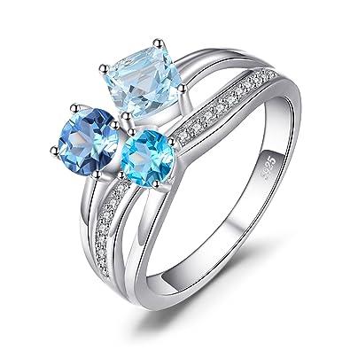 Jewelrypalace 1 7ct Echt Mehrfarbig Schweiz Blau Topas 3 Steine Ring