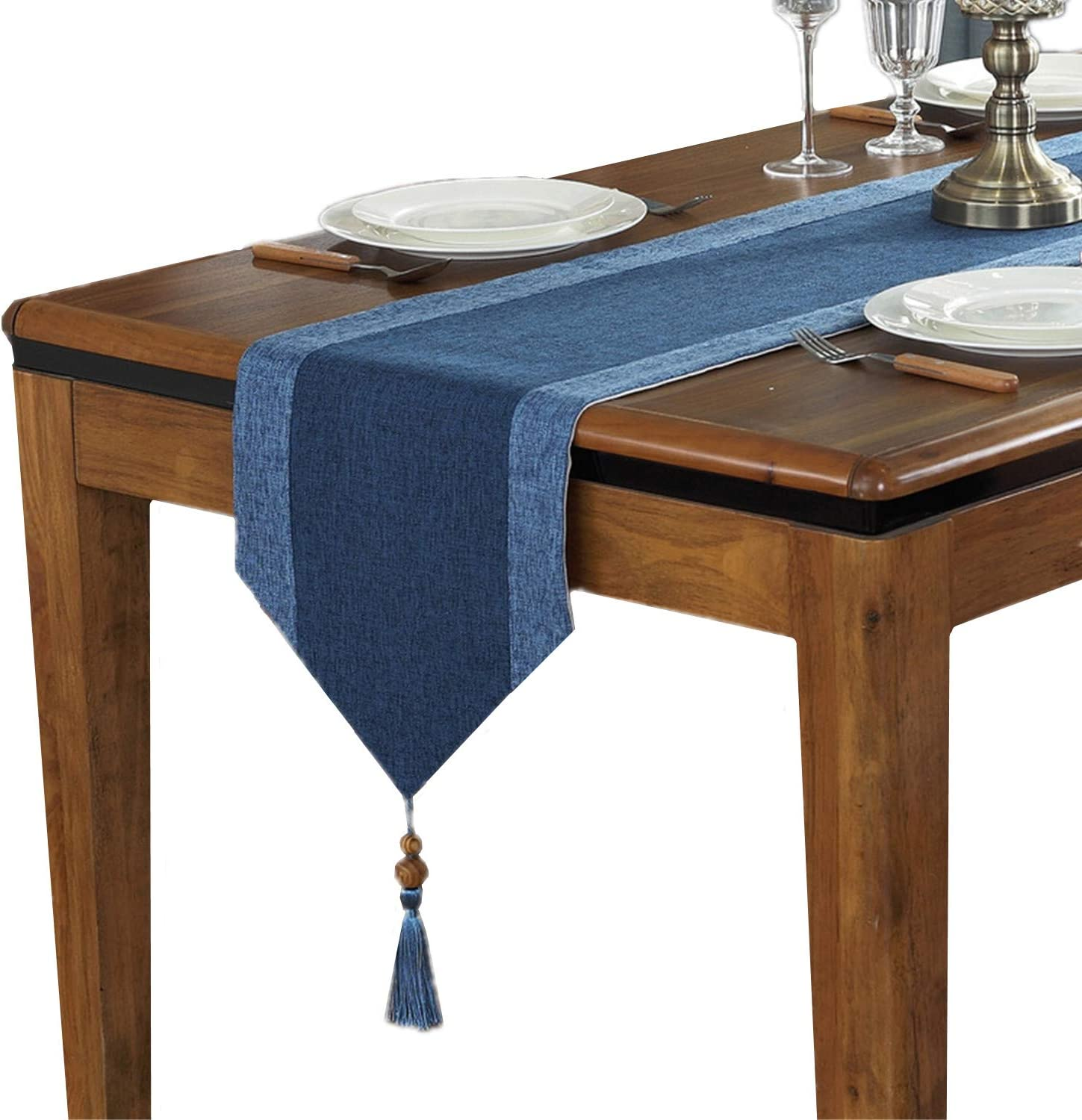 Cotton Linen Table Runner With Tassels For Dining Table Decoration Home Decor 13 X 82 Blue Home Kitchen