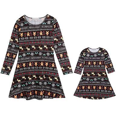 722679c0c10be Siennaa Robe de Noël Femme Manches Longues Fille Enfant Imprimé Bonhomme de  Neige Père Noël Tunique