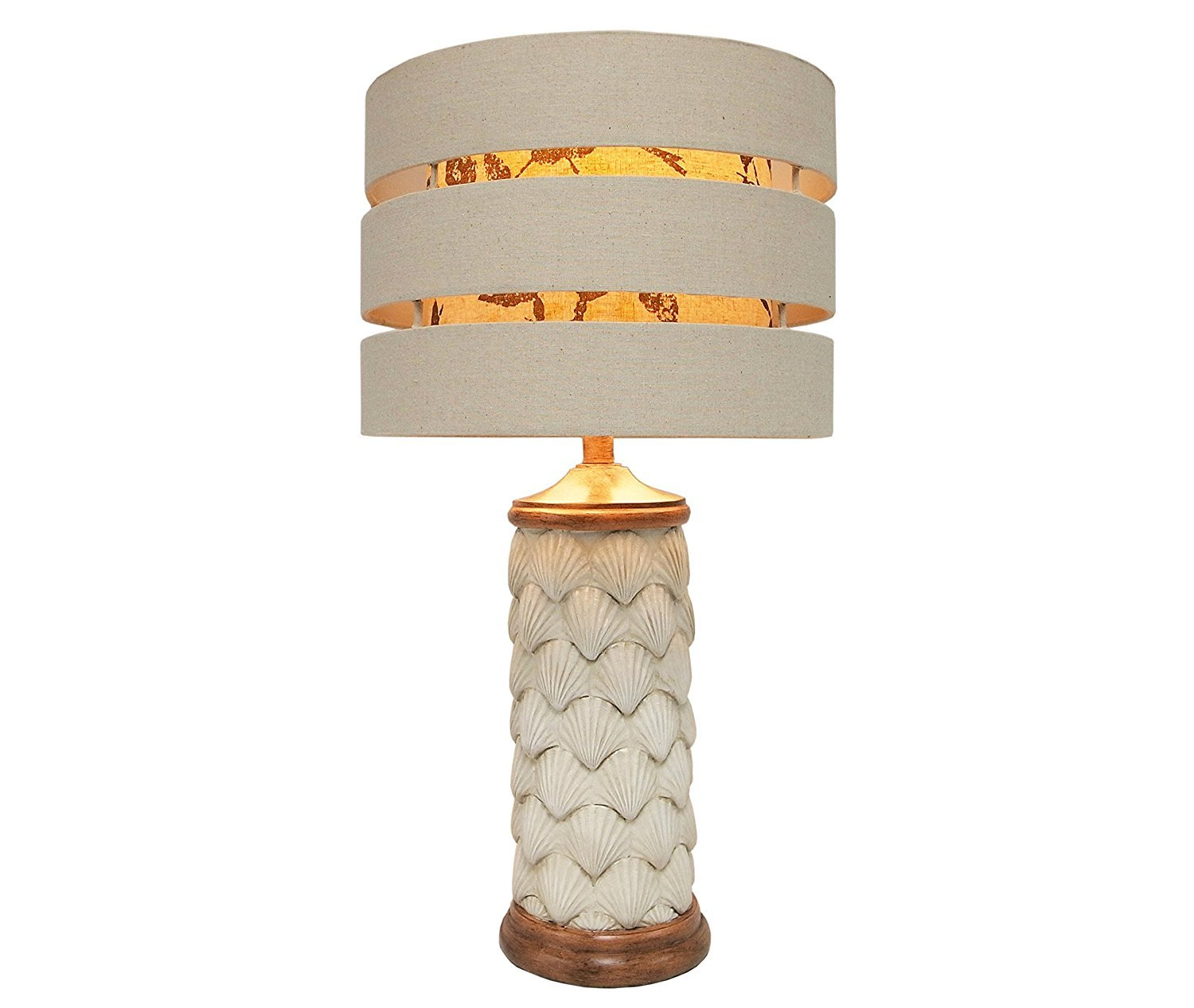 AWST0064 Luxury Antique White Shells Column with double layer fabric lampshade - Table Lamp - Bedroom Bedside Lamp - Desk Lamp - Living Room Lamp - Dorm Room Lamp - Home Deco