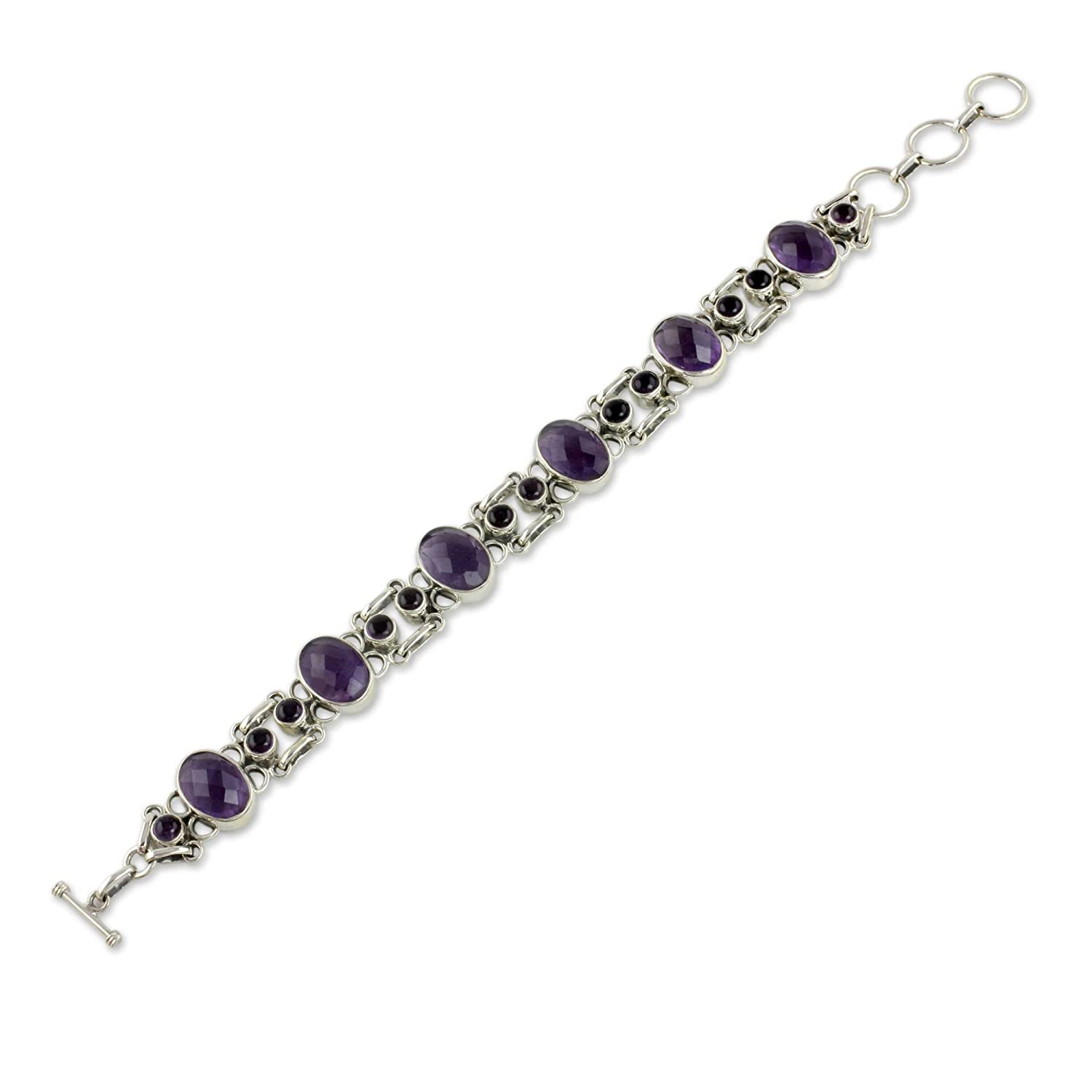 NOVICA Amethyst Bracelet Handcrafted in Sterling Silver Jewelry, Royal Purple