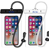 """Waterproof Phone Pouch, IPX8 Universal Waterproof Dry Case for iPhone X 8 7 6s 6 Plus, Samsung Galaxy S8 S7, Google Pixel HTC and Other Cell Phone up to 6"""", Touch Friendly and Secure (Clear 2-Pack)"""