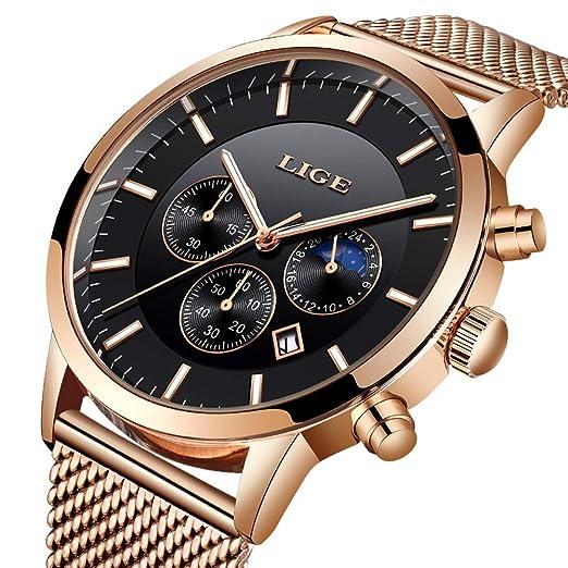 Reloj de Pulsera para Hombre, de Acero Inoxidable, Resistente al Agua, con Correa de Malla de Cuarzo, Sumergible, Color Negro: Amazon.es: Relojes