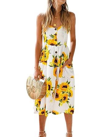 feb52514f5da Blooming Jelly Womens Summer Sleeveless Hawaiian Dresses High Waist Button  Down Floral Boho Midi Chiffon Dress