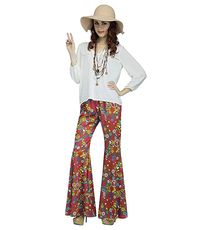 Vintage High Waisted Trousers, Sailor Pants, Jeans Flower Power Bell Bottoms Adult Costume Peace Flowers Brown $27.10 AT vintagedancer.com