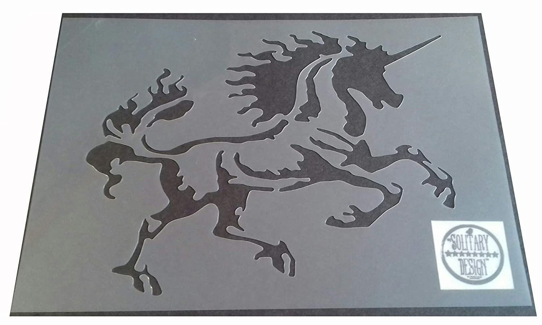 Artistic Unicorn Shabby Chic plastic Stencil Vintage A4 297x210mm furniture wall