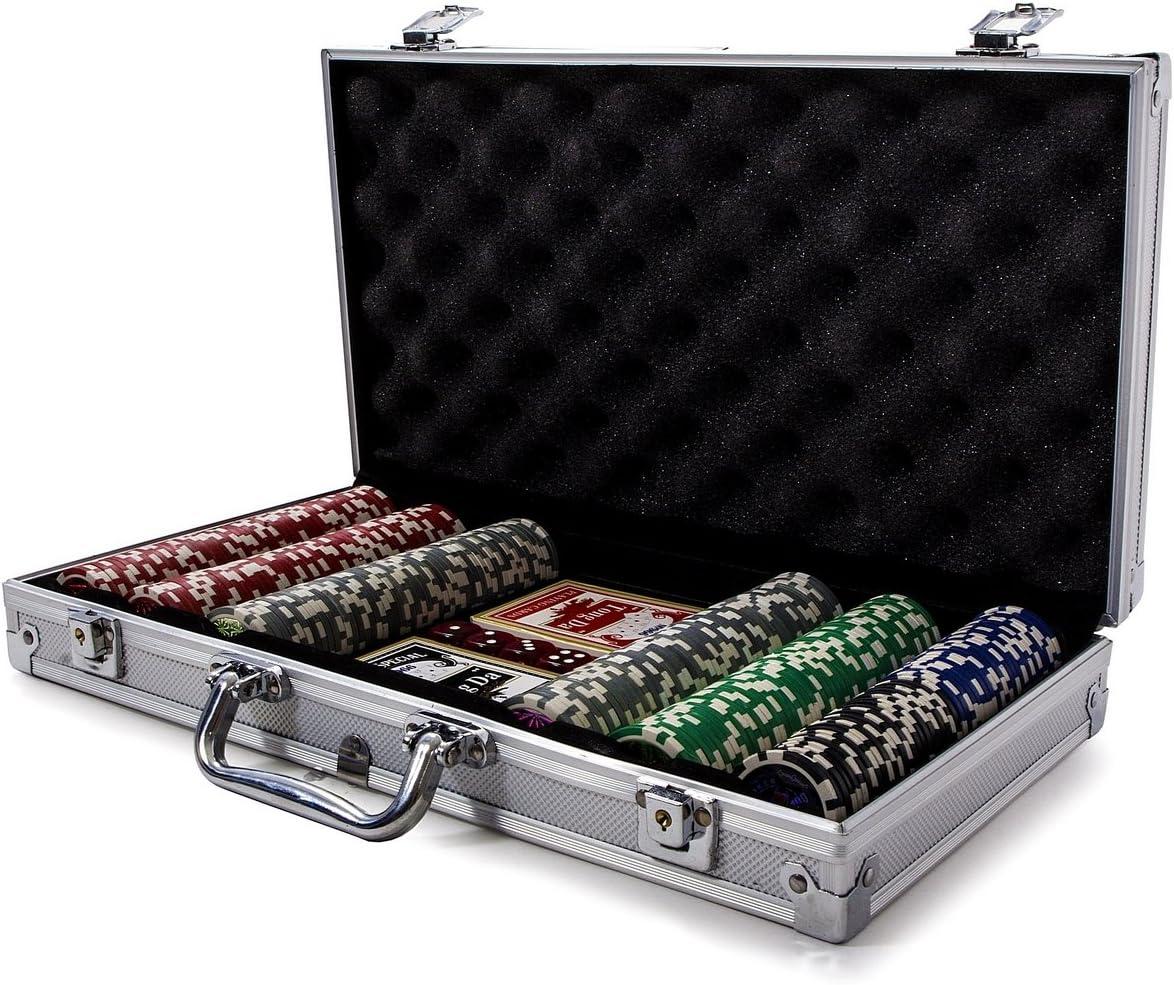 Fitfiu - Maletín Profesional Poker con 300 fichas de Juego (Agroverd Casino Chip): Amazon.es: Juguetes y juegos
