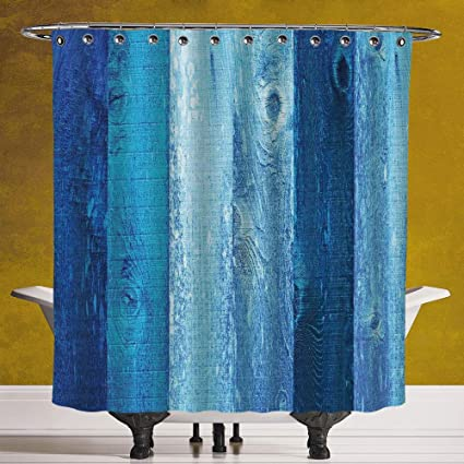 SCOCICI Polyester Shower Curtain 30 Navy Blue DecorDistressed Vintage Graphic Of Wood In