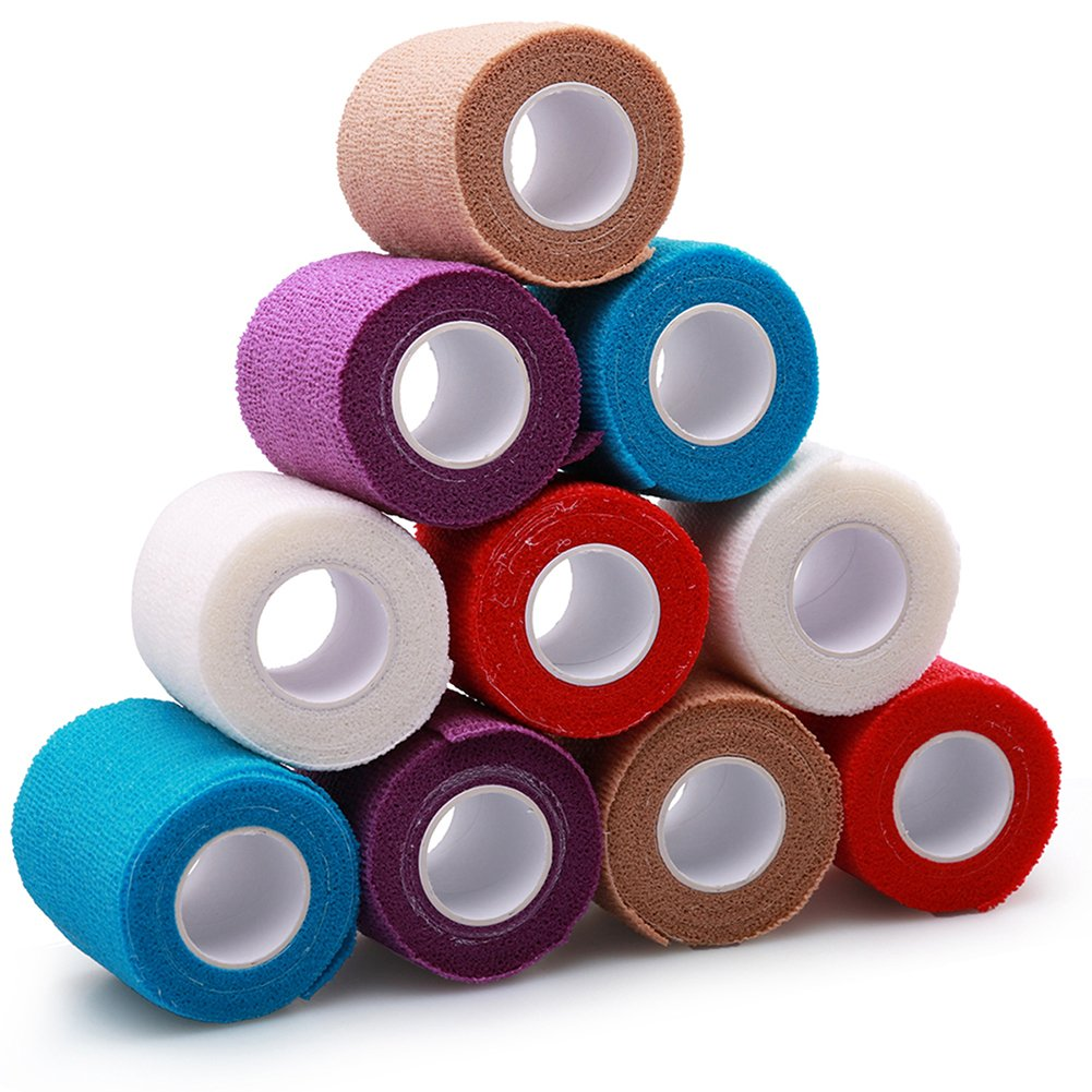 Self-Adhesive Bandage Wrap Tape by LotFancy, Elastic Cohesive Non-Woven,FDA Approved, 10 Rolls, Assorted Colors (3Inches x 5Yards)