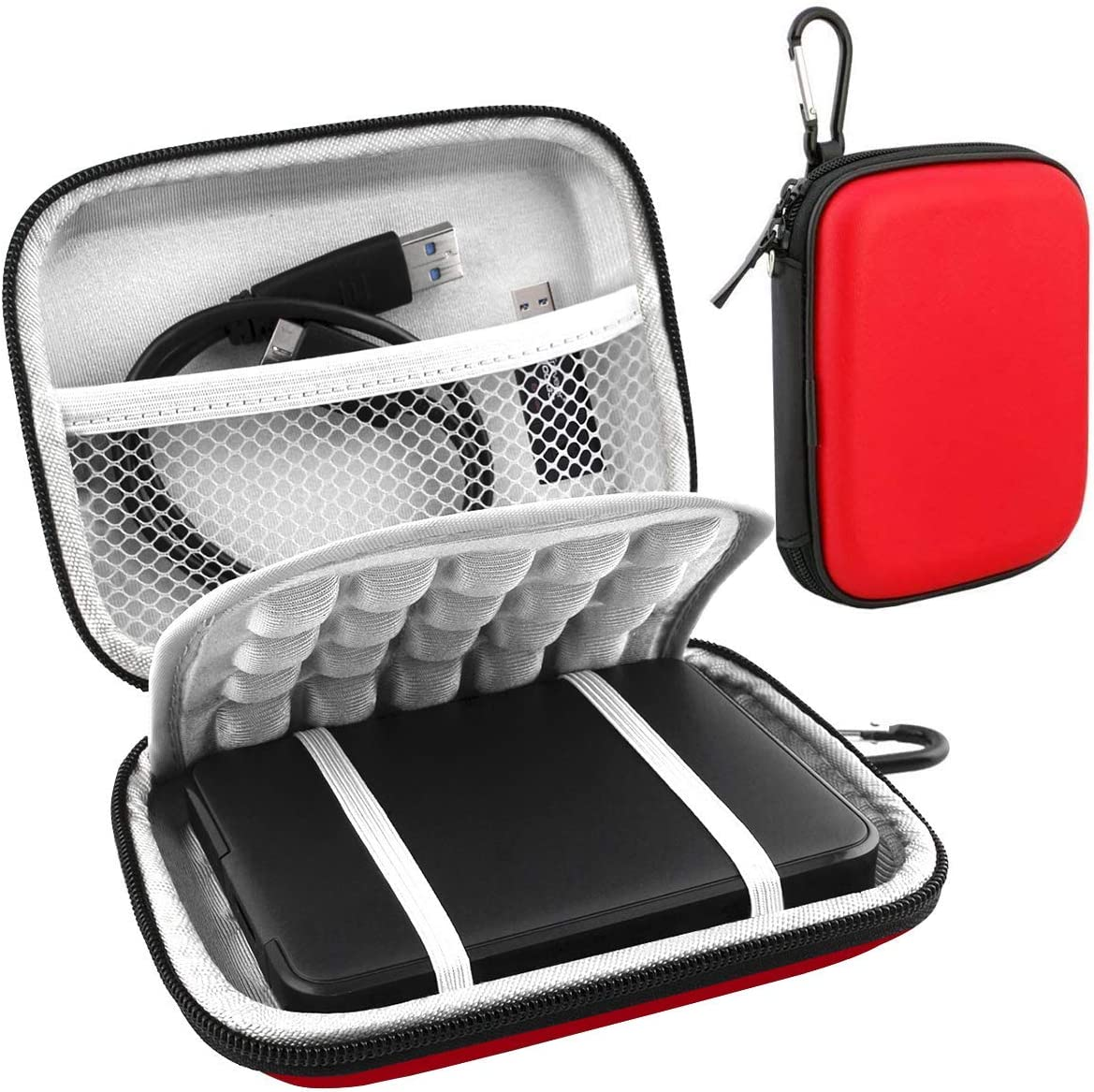 Lacdo Hard Drive Carrying Case for Western Digital WD My Passport Ultra WD Elements SE WD Gaming Drive Portable External Hard Drive 1TB 2TB 3TB 4TB 5TB USB 3.0 2.5 inch HDD Shockproof Travel Bag, Red
