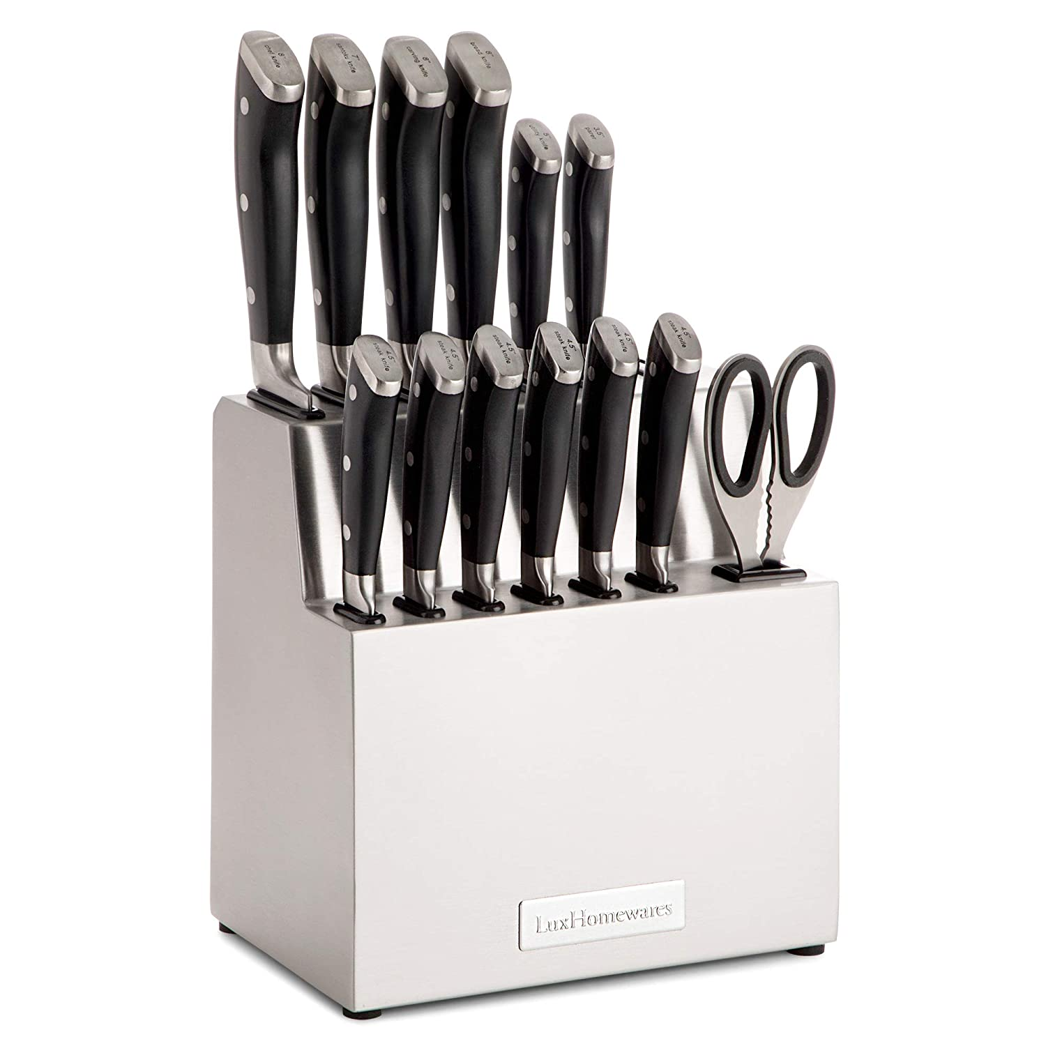 Kitchen Knife Set with Block, 14 pc, Stainless Steel - Complete Culinary Sets - Gourmet Chef, Pairing, Cooking, Steak Knives with Scissors and Built-In Sharpener - All-Purpose, Full Tang