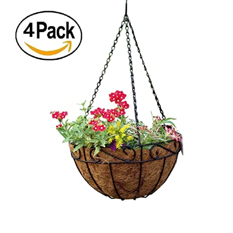 Amagabeli 4 Pack Metal Hanging Planter Basket With Coco Coir Liner 14 Inch  Round Wire Plant