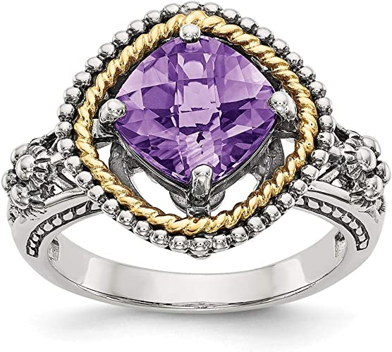 Shey Couture Sterling Silver with 14k Antiqued Amethyst Heart Ring Size 8