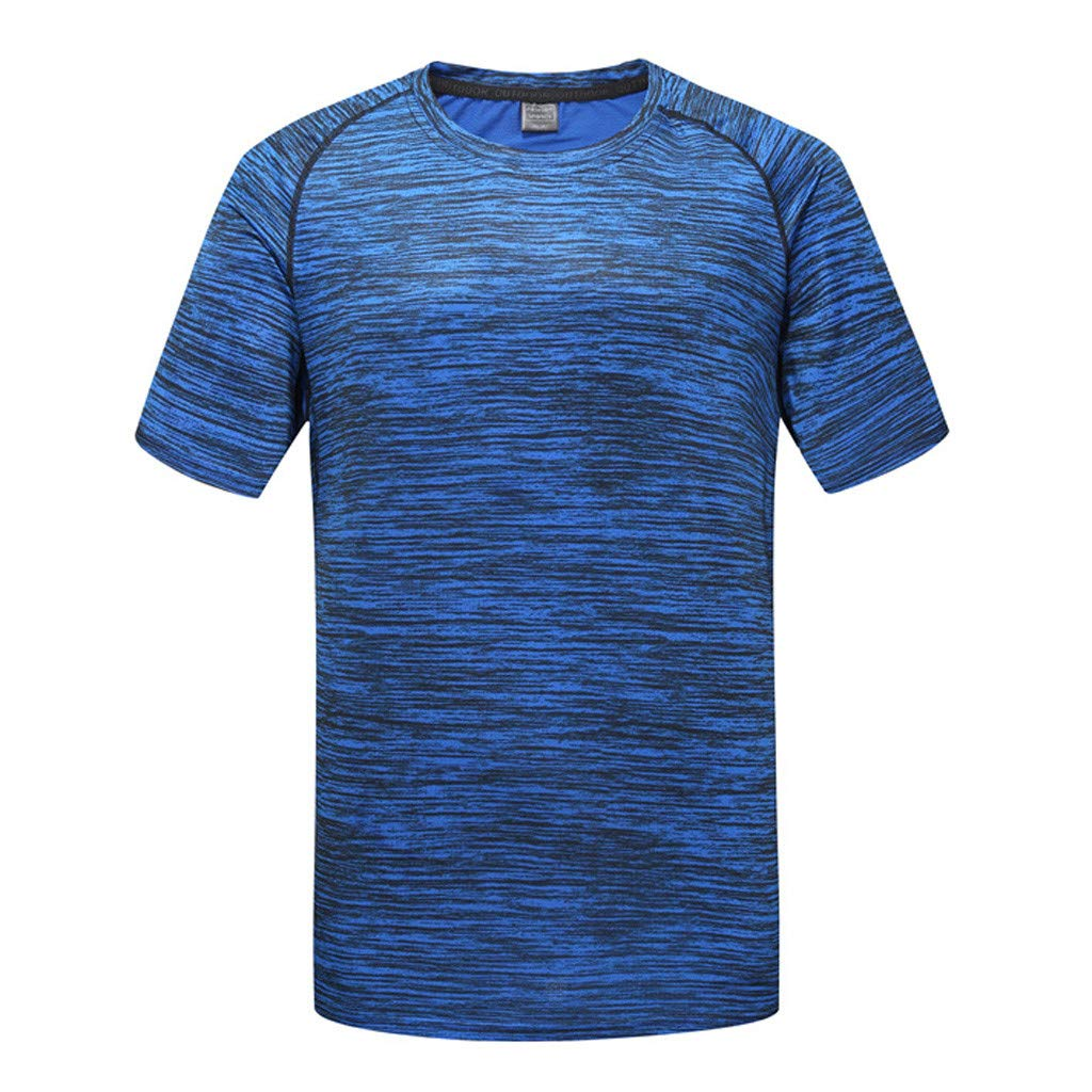 Hotkey Mens Tank Tops Beach Men's Summer Casual O-Neck T-Shirt Fitness Sport Fast-Dry Breathable Top Blouse Blue